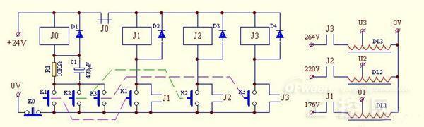 c1组成点动控制电路,它受k1~k3这3个按钮控制