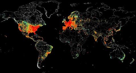 这张世界上网地图告诉你哪国的联网设备最多