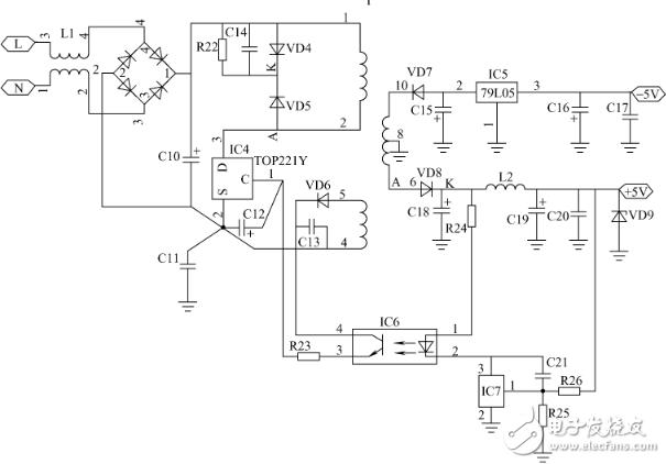 控制电流来自高频开关变压器T的一个二次绕组3、4,T的铁氧体磁心体积仅19mm×17mm×5mm,VD5抑制反峰尖脉冲。IC1的外围电路的工作过程很简单:当输出电压升高时,IC1的C极输入电流也会增加,输出脉冲占空比将减小,从而使输出电压降低。